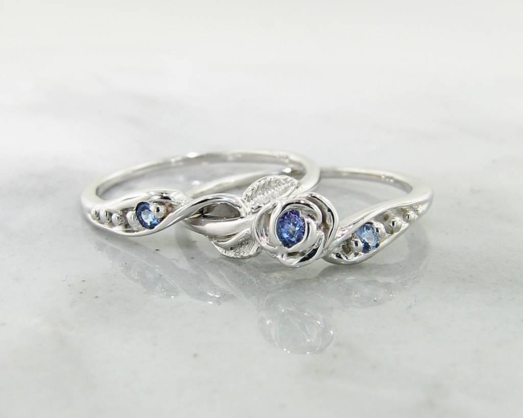 Signature Rose Tanzanite White Gold Wedding Ring Set, Tea Rose