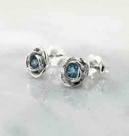 Signature Rose Swiss Blue Topaz Silver Earrings, Petite Rose Studs