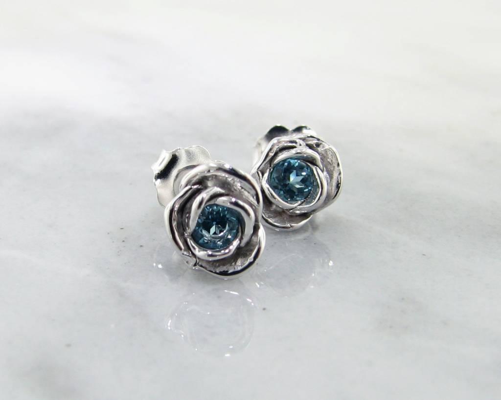 Signature Rose Petite Rosebud Earrings Swiss Blue Topaz Silver