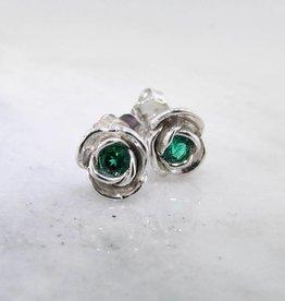 Signature Rose Emerald Silver Earring Studs, Petite Rose