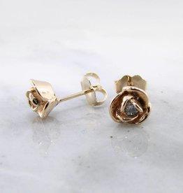 Signature Rose Petite Rosebud Earrings Diamond 14K Yellow Gold