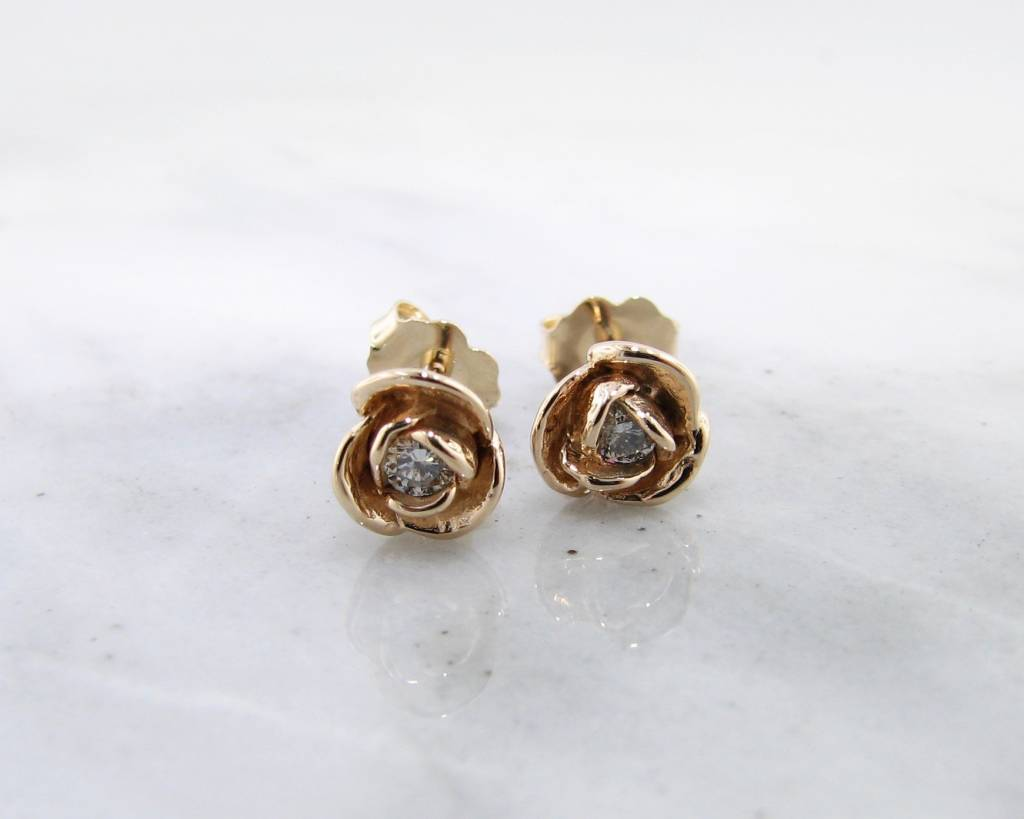 Signature Rose Petite Rosebud Earrings Diamond 14K Yellow Gold