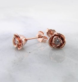 Signature Rose Diamond Rose Gold Earring Studs, Petite Rosebud