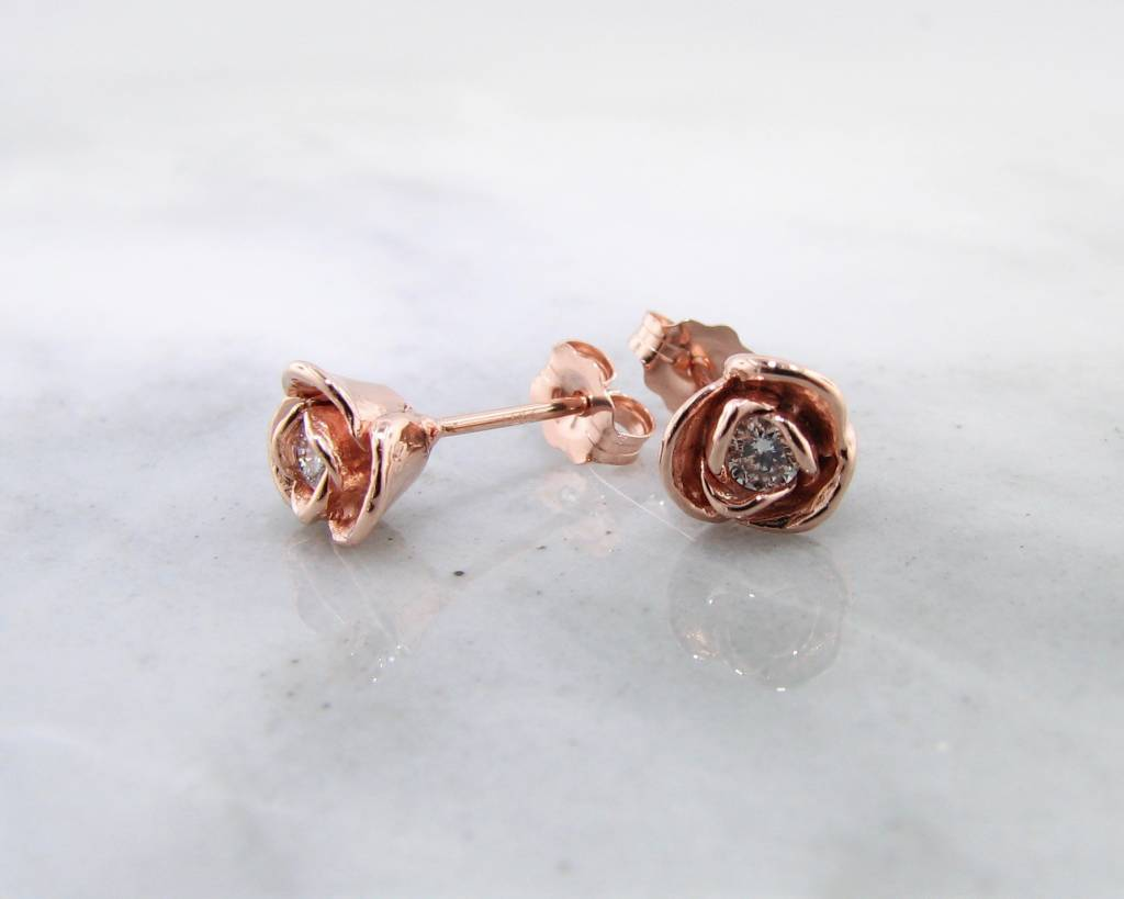 Diamond Rose Gold Stud Earrings, Petite Rosebud - Wexford Jewelers