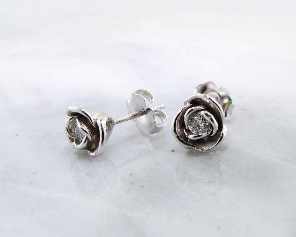 Signature Rose White Gold Diamond Earring Studs, Petite Rose