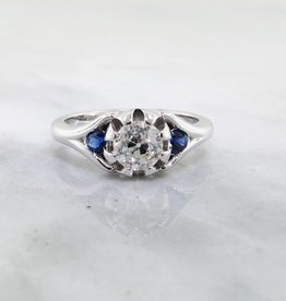 Sleek Diamond Sapphire White Gold Engagement Ring, Classic