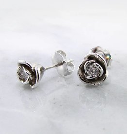 Signature Rose Diamond Silver Petite Rose Earring Studs