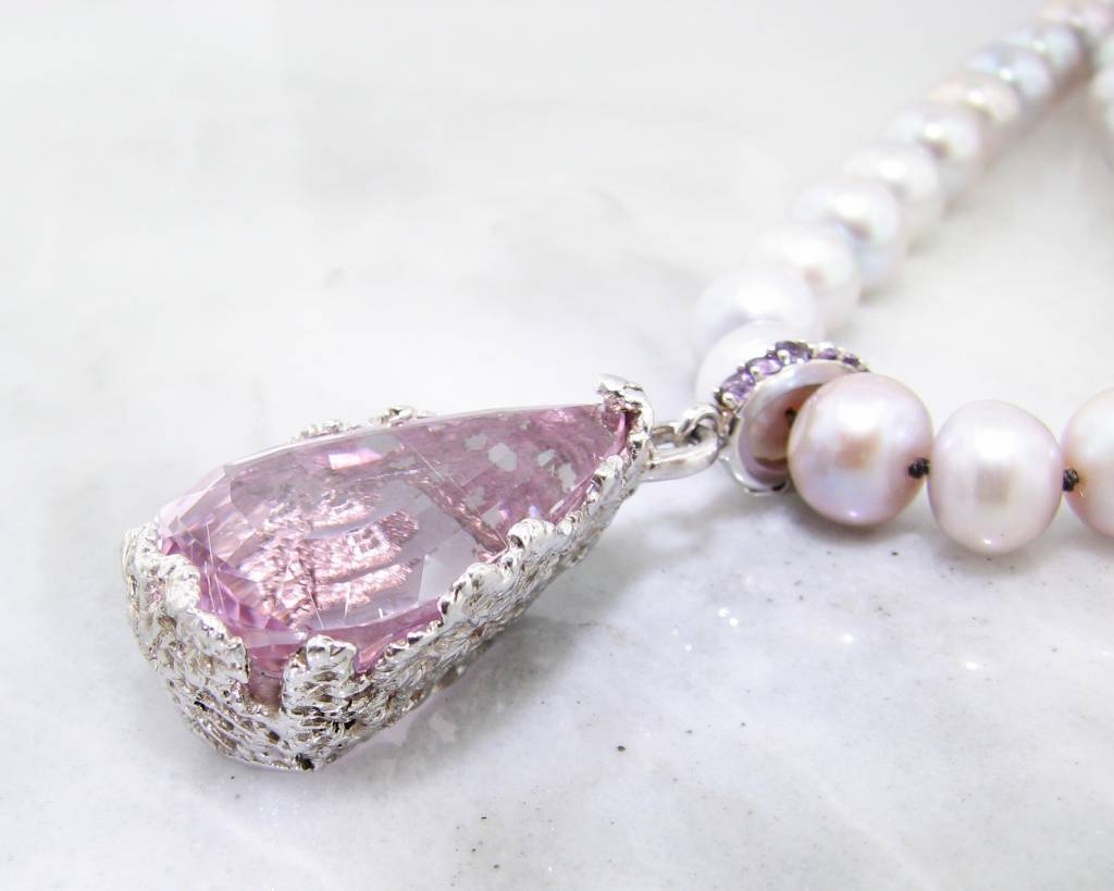 Vintage Lavender Pearl Necklace Amethyst Lace Enhancer, Rose de la France