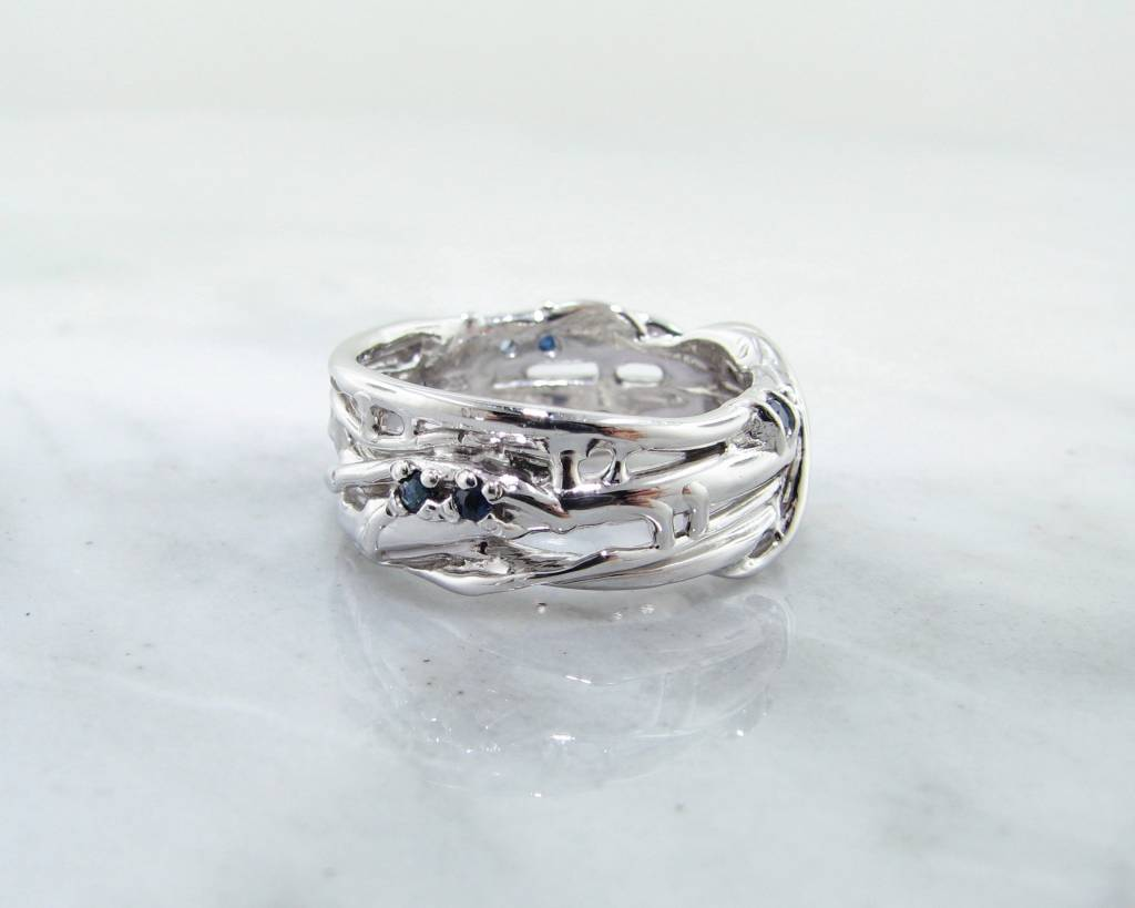 Organic Sapphire Silver Ring, Updated Bird's Nest Band