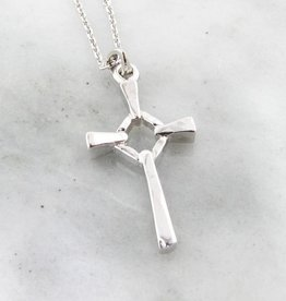 Rustic Silver Cross Necklace, Block Celtic