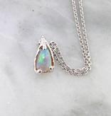 Sleek Opal Silver Necklace, Fiery Beaded Droplet