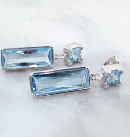 Sleek Topaz Silver Earrings, Geometric Blue Dangles