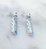 Sleek Topaz Silver Earrings, Geometric Blue Dangles