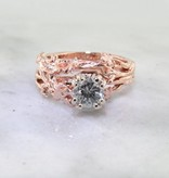Organic Diamond Rose Gold Wedding Ring Set, Maple Leaf