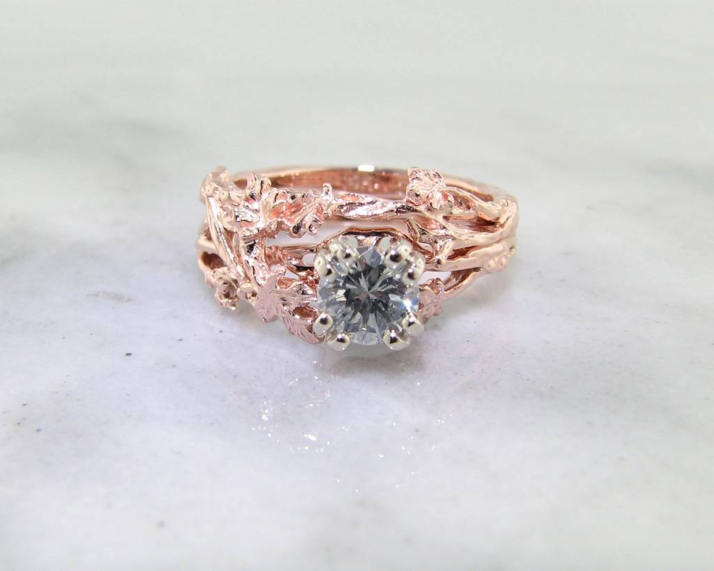 Organic Diamond Rose Gold Wedding Ring Set