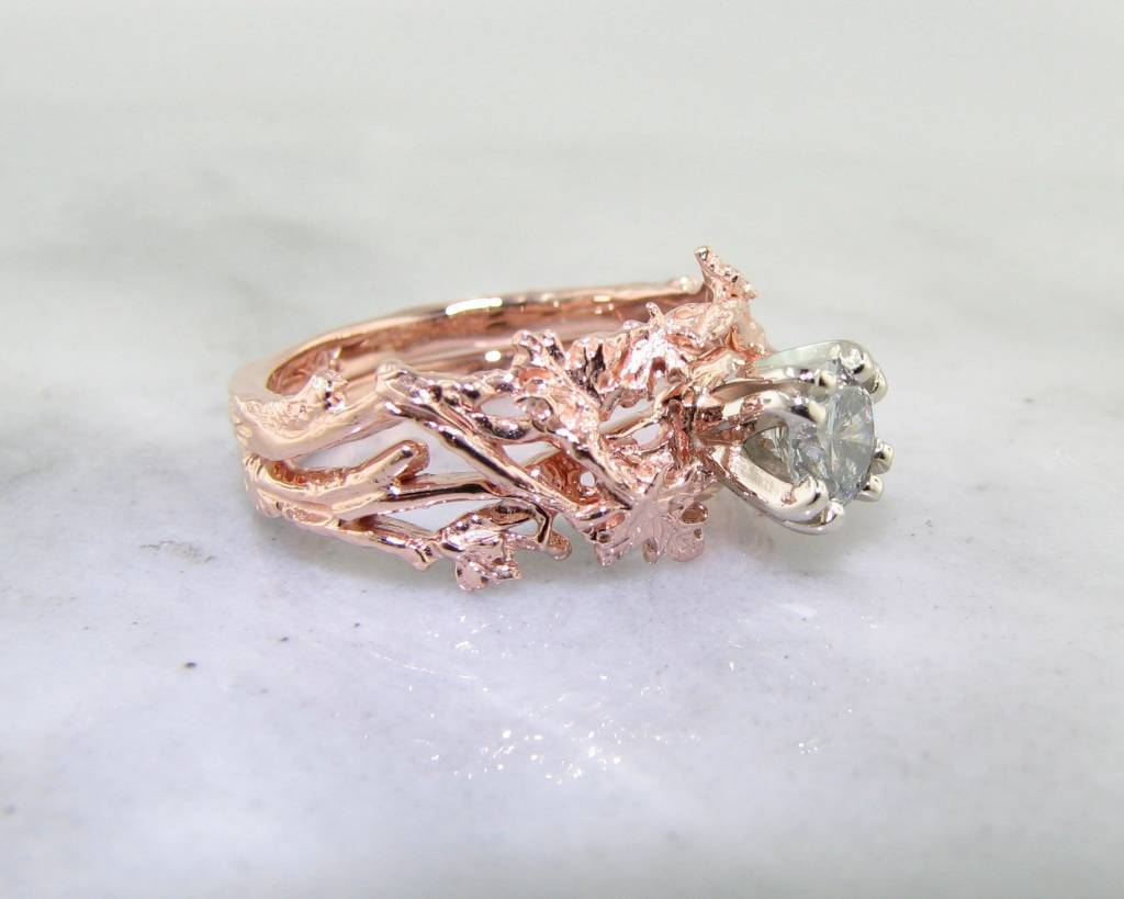 organic diamond rose gold wedding ring set - Rose Gold Wedding Ring Sets