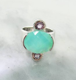 Sleek Opal Morganite Silver Ring, Blush Boho Trio