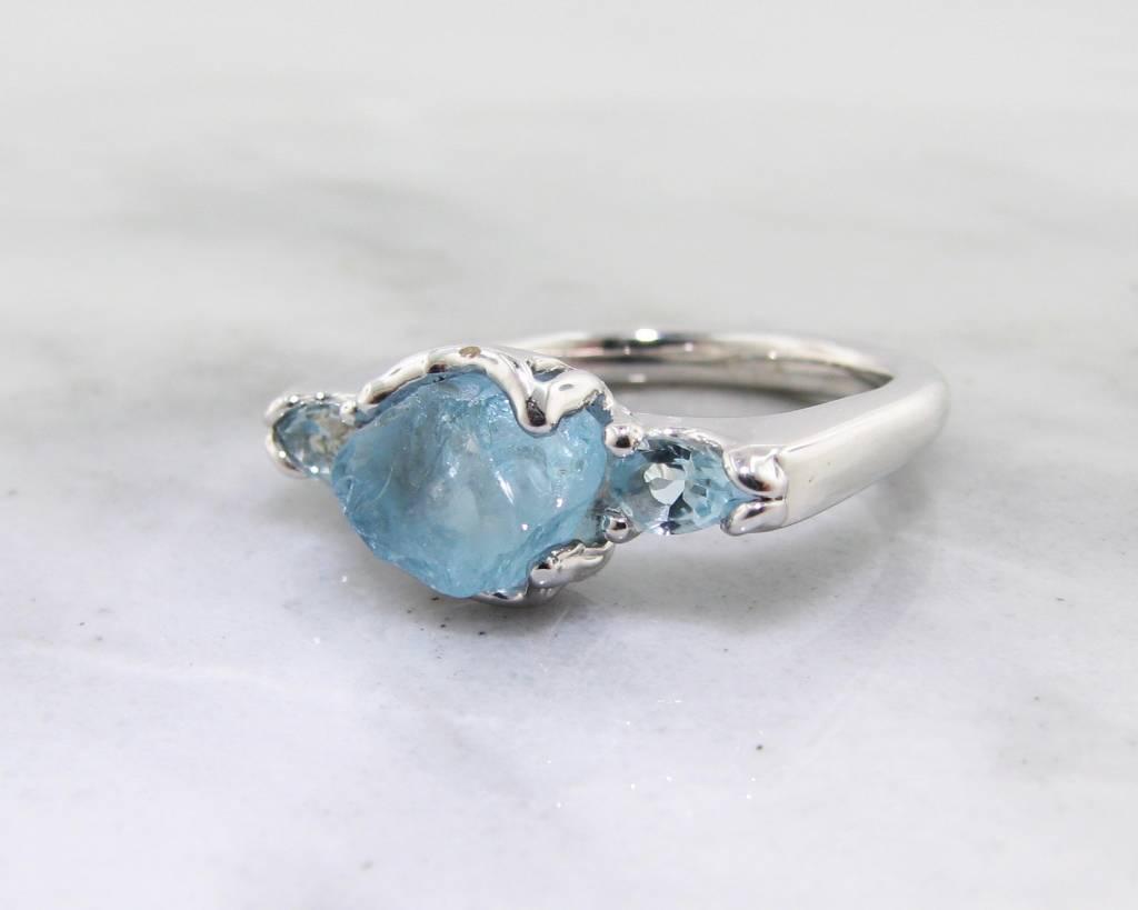 Rustic Raw Aquamarine Silver Ring, Gemstone Row
