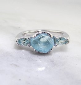Rustic Raw Aquamarine Silver Ring, Gemstone Row