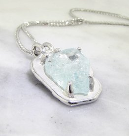 Rustic Raw Aquamarine Silver Necklace, Rough Hewn