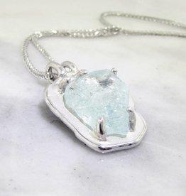 Rustic Raw Aquamarine Silver Necklace, Rough Hewn