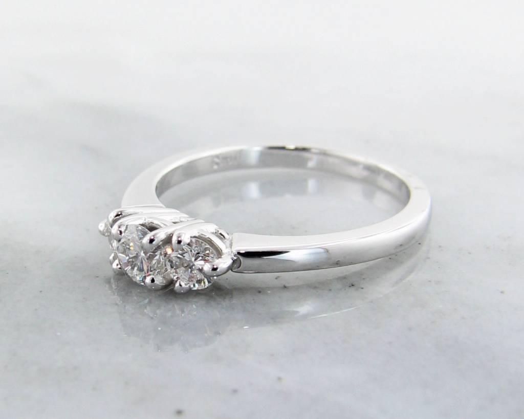Timeless Bridal Diamond White Gold Ring, Three Stone Anniversary Band