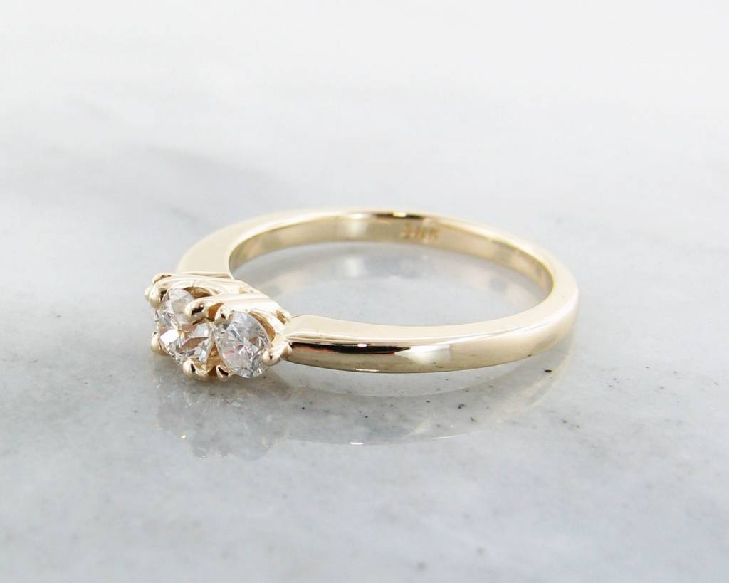 Timeless Bridal Diamond Yellow Gold Ring, Three Stone Anniversary Band