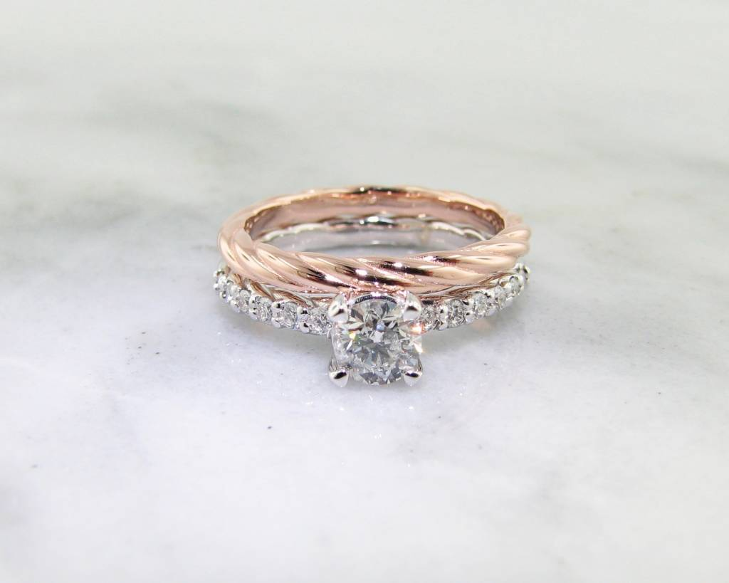 Trending Bridal Diamond White Rose Gold Wedding Ring Set, ...