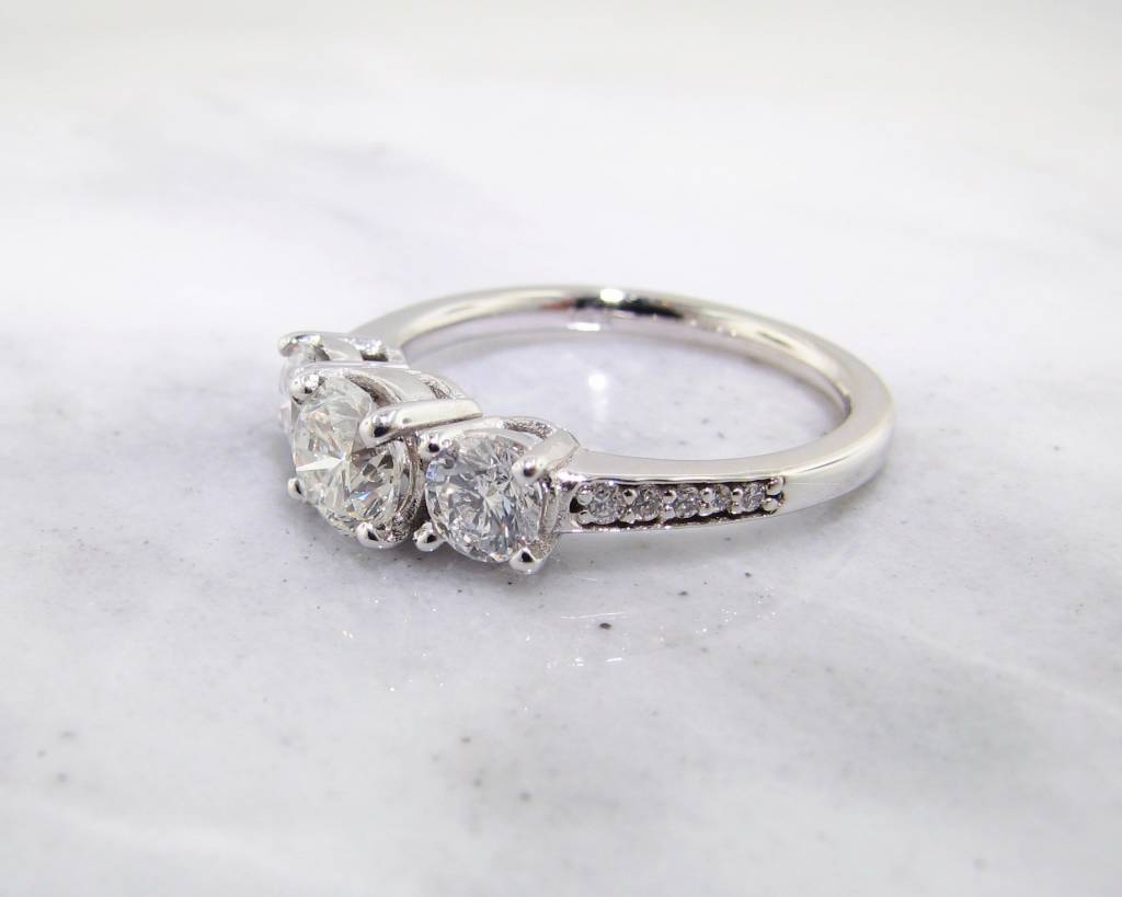 Timeless Bridal Diamond White Gold Engagement Ring, Three Stone 1.53ct