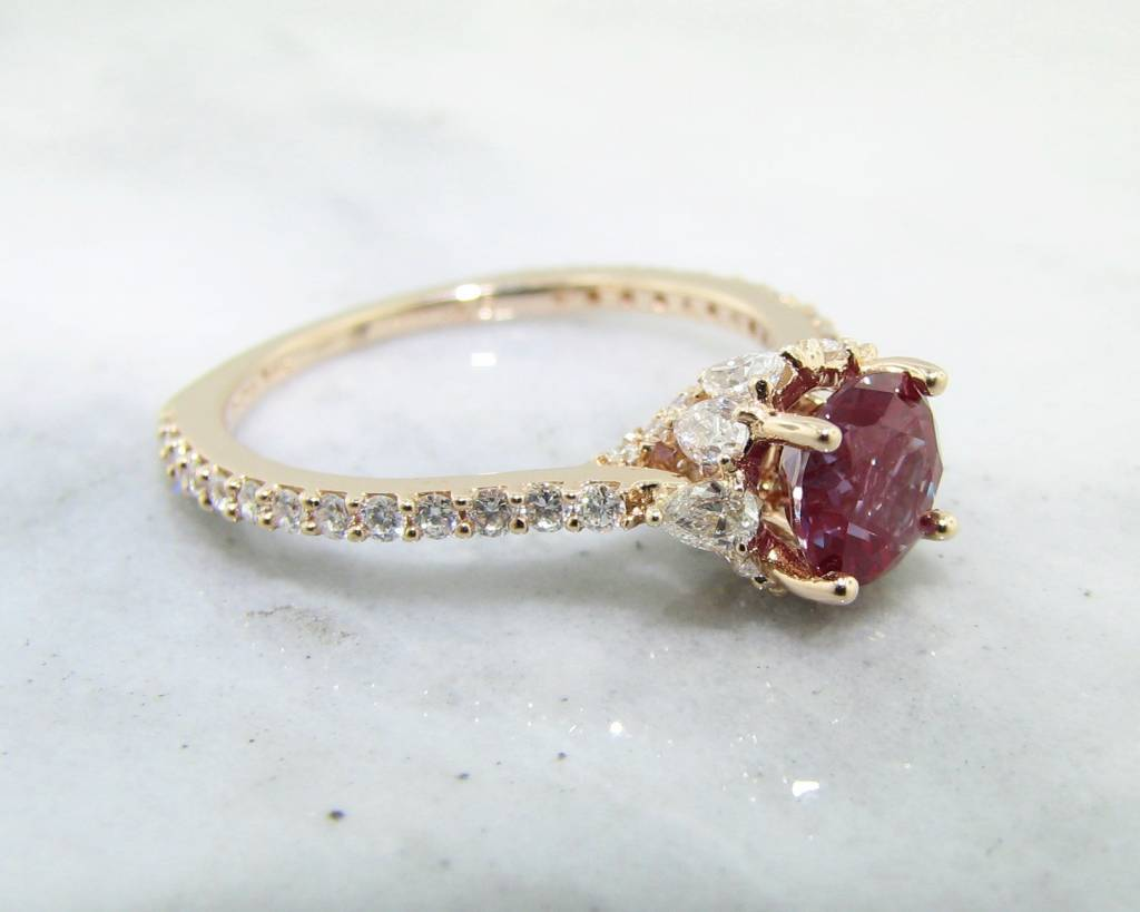 Unique Diamond Alexandrite Rose Gold Engagement Ring On Clearance  NY98