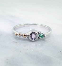 Sleek Morganite Emerald Silver Ring, Blush Mojito Dots