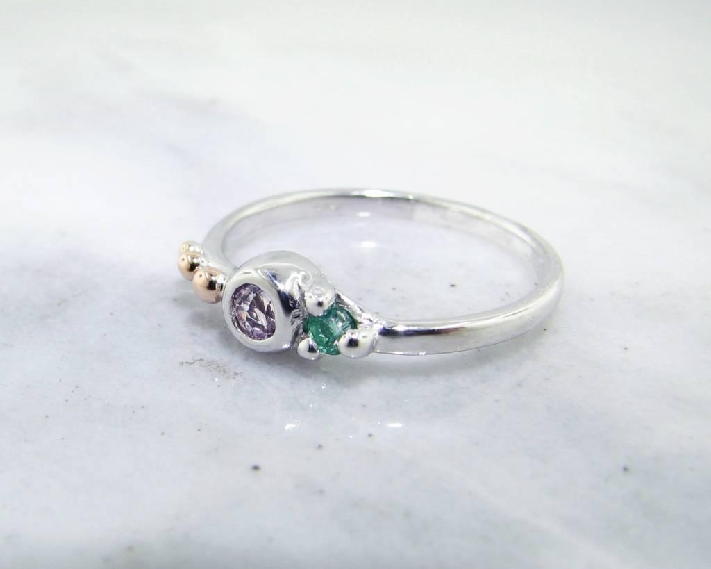 Sleek Morganite Emerald Silver Ring, Blush Mojito Dots
