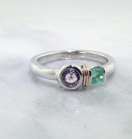 Sleek Morganite Emerald Silver Ring, Blush Boho