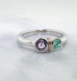 Sleek Morganite Emerald Silver Ring, Blush Boho