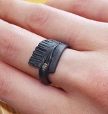 Rustic Blackened Silver Diamond Ring, Sequoia