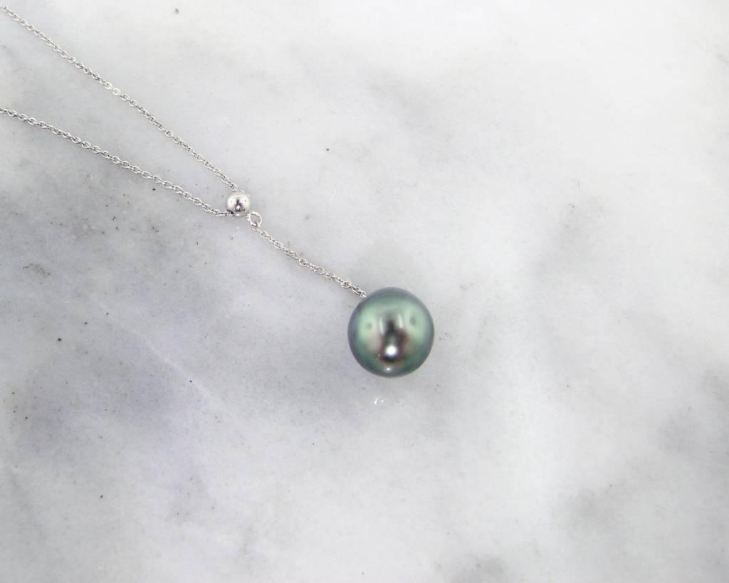 """Vintage Tahitian Pearl Silver Necklace, """"Y"""" Pendant"""