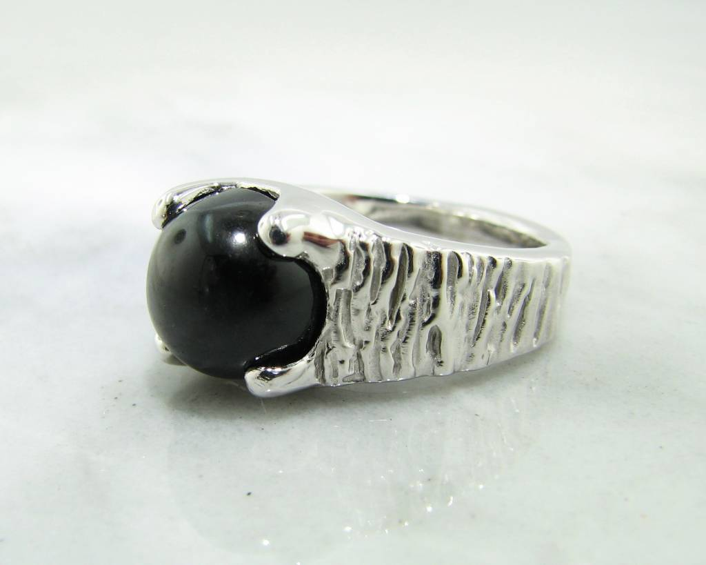 Excellent Black Star Sapphire Silver Men's Ring - Wexford Jewelers QJ56