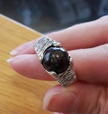 Rustic Black Star Sapphire Silver Men's Ring
