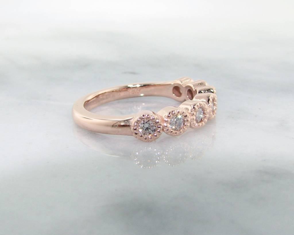 Timeless Bridal Diamond Rose Gold Ring, Milgrain Bezel