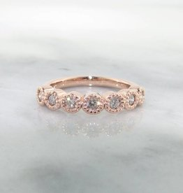 Timeless Bridal Diamond Rose Gold Ring, Milgrain Bezel