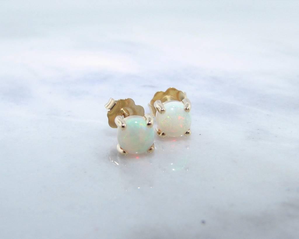 Sleek AAA Opal Yellow Gold Stud Earrings