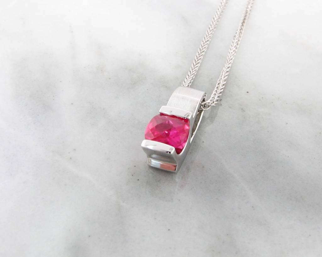 Frank Reubel Pink Topaz Silver Pendant Brushed Finish