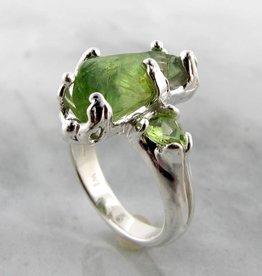 Organic Raw Peridot Silver Ring, Rah