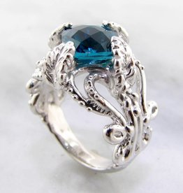 Vintage London Blue Topaz Silver Ring, Leafy Victorian