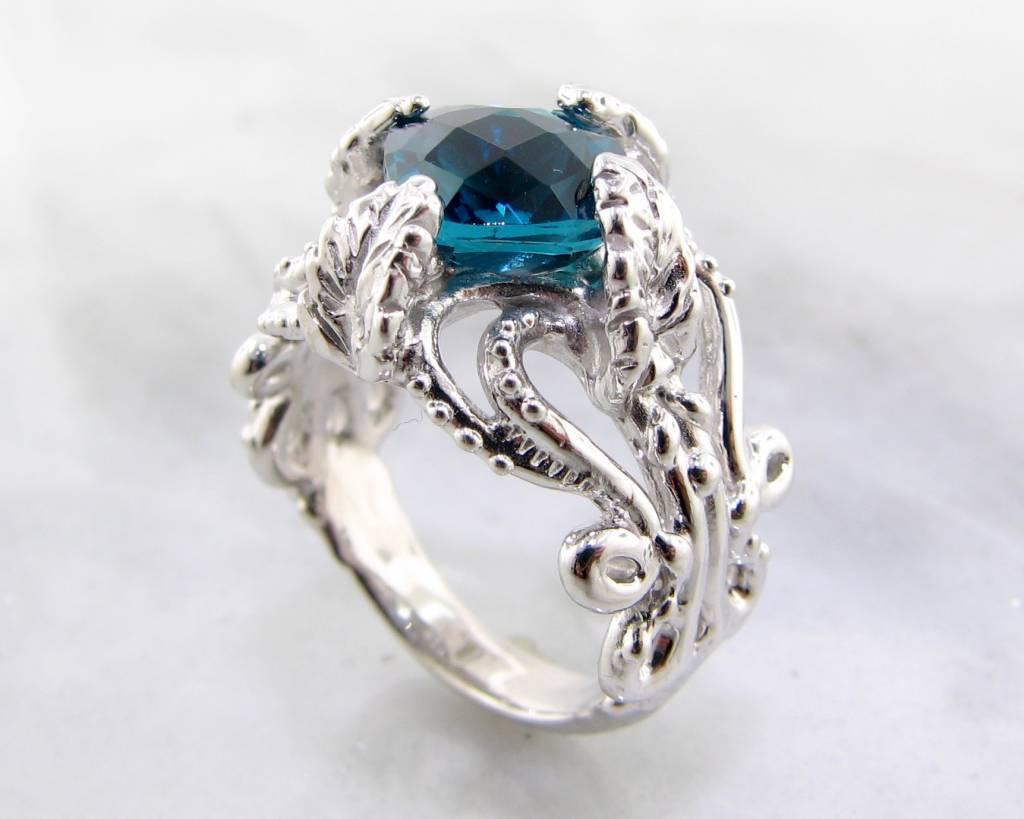 Vintage London Blue Topaz Silver Ring, Leafy Victorian