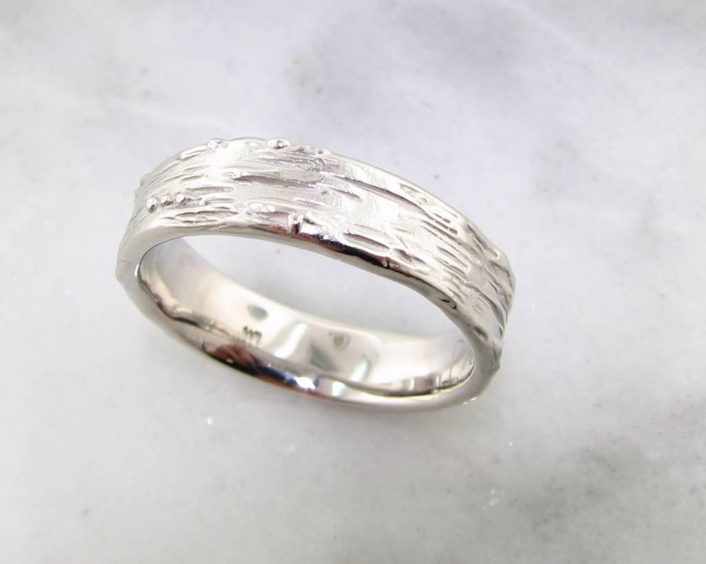 Rustic Palladium Ring, Medium Birch Band