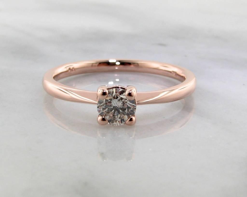 Timeless Bridal Rose Gold Diamond Solitaire Engagement Ring, Wexford Standard Slimline