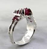Organic Raw Ruby Tourmaline Garnet Silver Ring, Rough Root