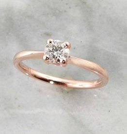 Timeless Bridal Rose Gold Diamond Solitaire Engagement Ring, Wexford Standard Slimline