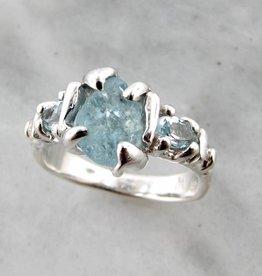Organic Raw Aquamarine Trillion Cut Silver Ring, Superior Sprite